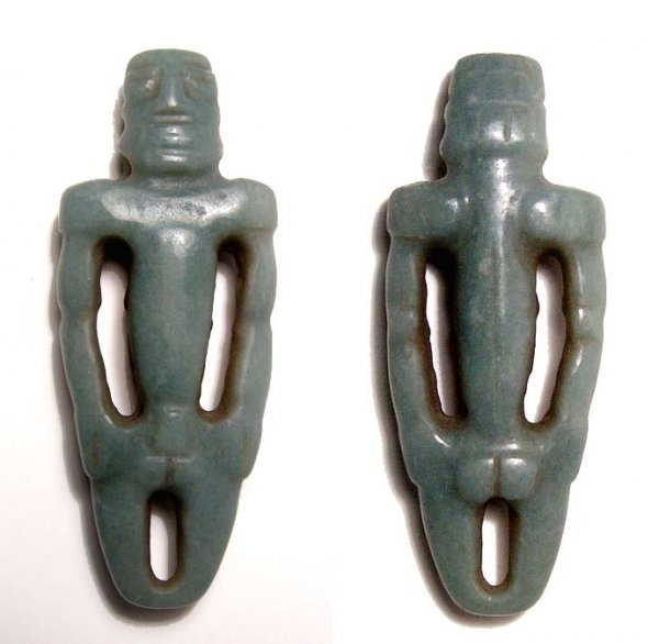 15. RARE JADE AMULET OF MUSCULAR MALE FROM COSTA RICA