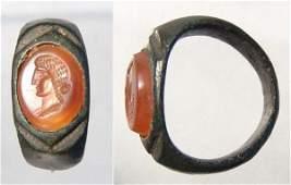 127 Roman 1st Century AD A carnelian INTAGLIO RING
