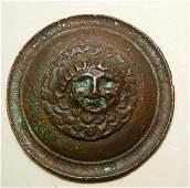 173 ROUND ROMAN BRONZE APPLIQUE WITH HEAD OF MEDUSA