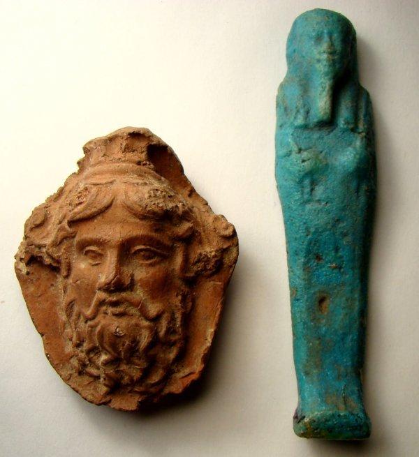 511: Egypt, Late period. A ushabti & choice TC plaque