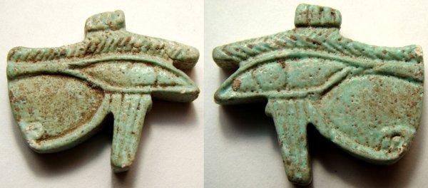 "514: Late period, nice detailed faience ""Eye of Horus"""