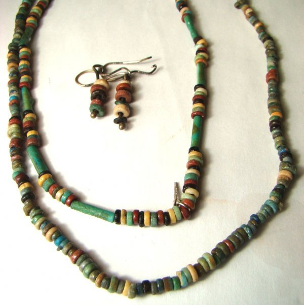 516: Late Period, 2 beaded necklaces and earrings