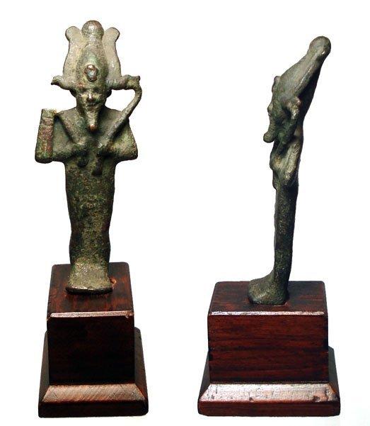 3: Late Period, 664 - 343 BC. A bronze figure of Osiris