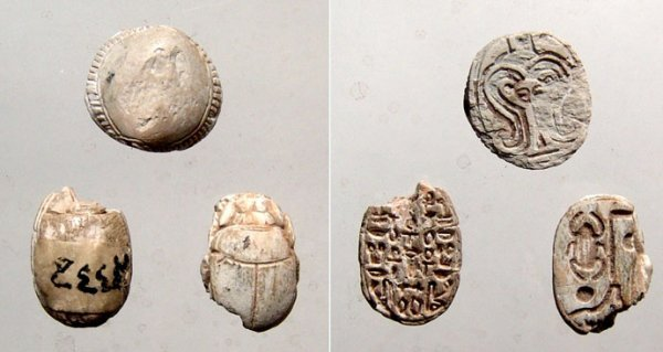 24: A lot of 3 steatite scarabs from  R. H. Blanchard