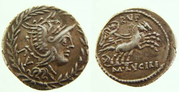 41: Roman Republic, M. Lucilius Rufus. 101 B.C. AR Dena