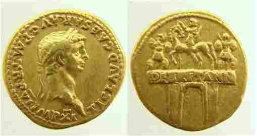 55: Roman, Claudius. 41�54 A.D. AV Aureus (7.79g). Rome
