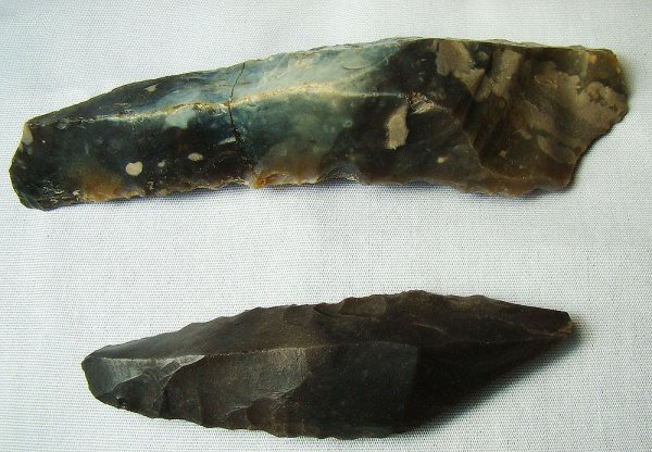 114: France, Aurignacian, 2 sharp stone hand axes