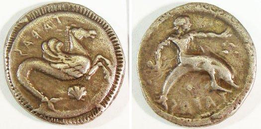 3: Calabria, Taras. c. 470–460 B.C. AR Nomos (7.86g). T