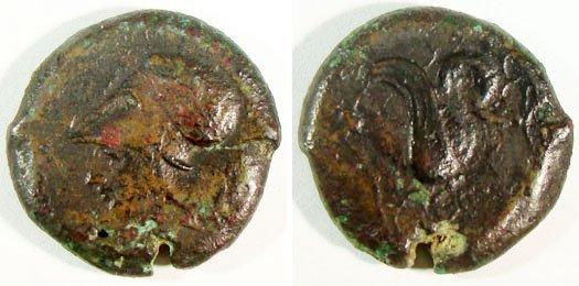 8: Syracuse. c. 400 B.C. Æ Litra (21mm, 7.80g).  head o