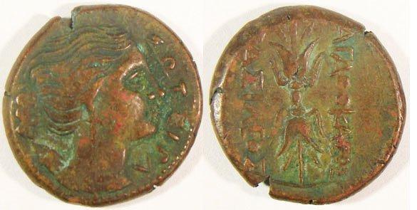 12: Syracuse, Agathocles. c. 317–289 B.C. Æ 22 (8.95g).