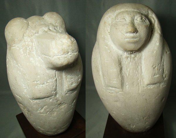 501: Egyptian,  2 large limestone 'false' canopic jars