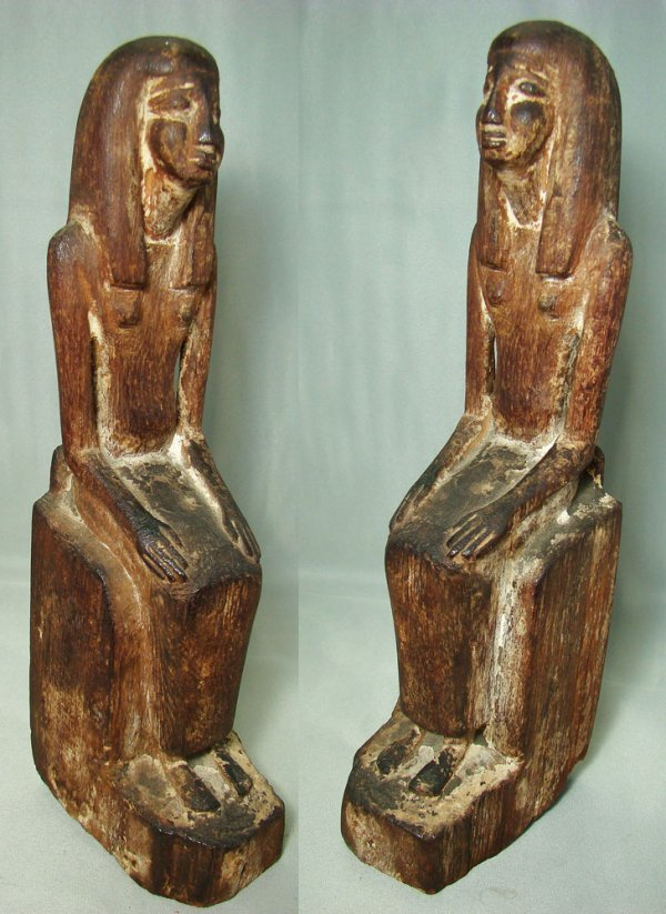 502: Egyptian, a finely carved wooden seated female