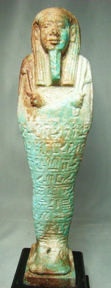 510: Egyptian, XXVI Dyn. FANTASTIC TALL FAIENCE USHABTI