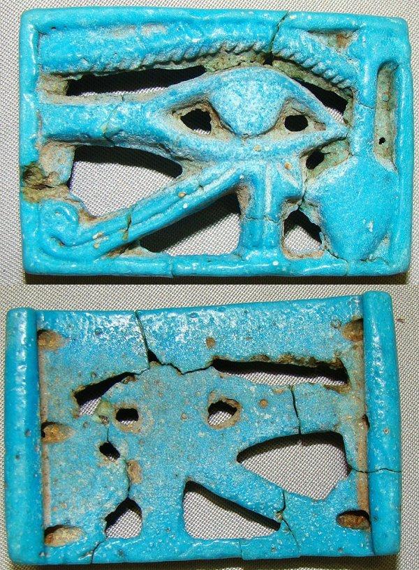 """520: Egypt, open work blue faience """"Eye of Horus"""""""