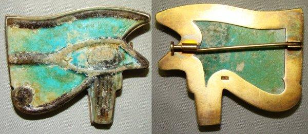 521: Egypt, large blue faience Eye of Horus set as pin