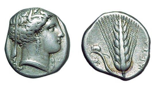 1: Lucania, Metapontion. c.335 - 330 BC. AR Nomos. 7.83