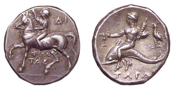 2: Calabria, Tarentum. c.272 - 235 BC. AR Nomos. 3.85g.