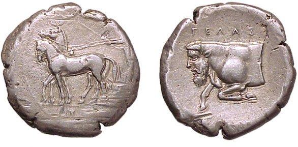 3: Gela, c.420 BC. AR Tetradrachm. 17.29g. Slow biga dr