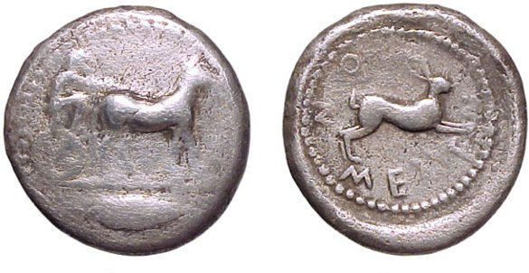4: Messana. c.465-462/1 BC. AR Tetradrachm. 16.15g. Sea