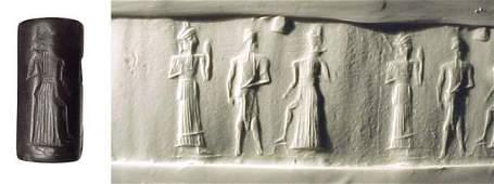 183: Old Babylonia, c.1850 – 1700 BC. A hematite cylind