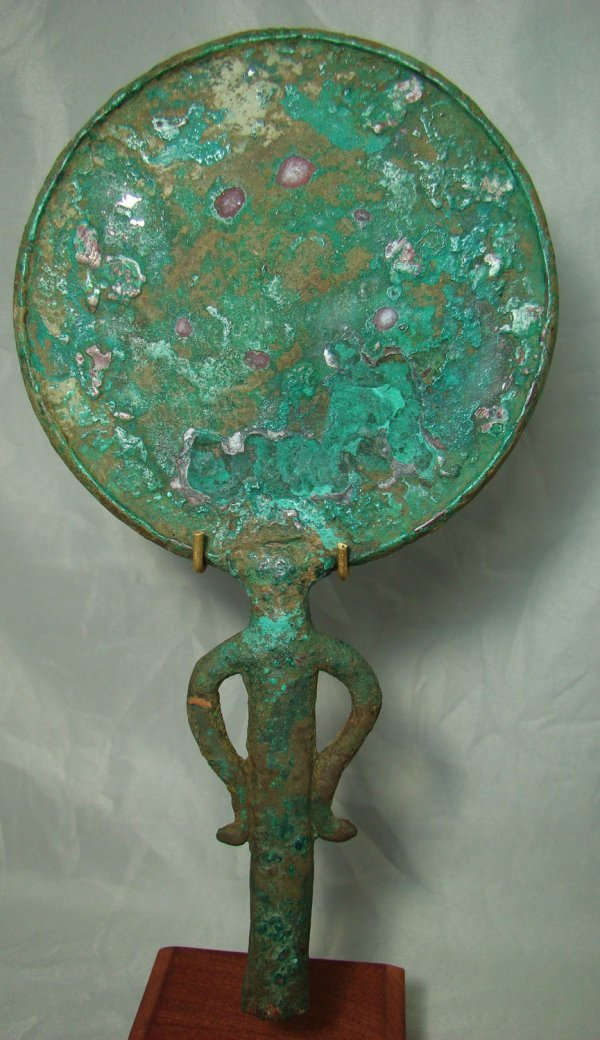 13: Egypt, Late Period, a very nice bronze Mirror