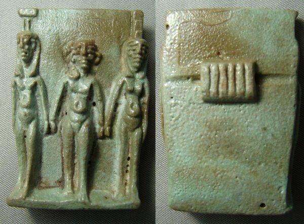 "20: Egypt, Late Period, a wonderful faience ""triad"""