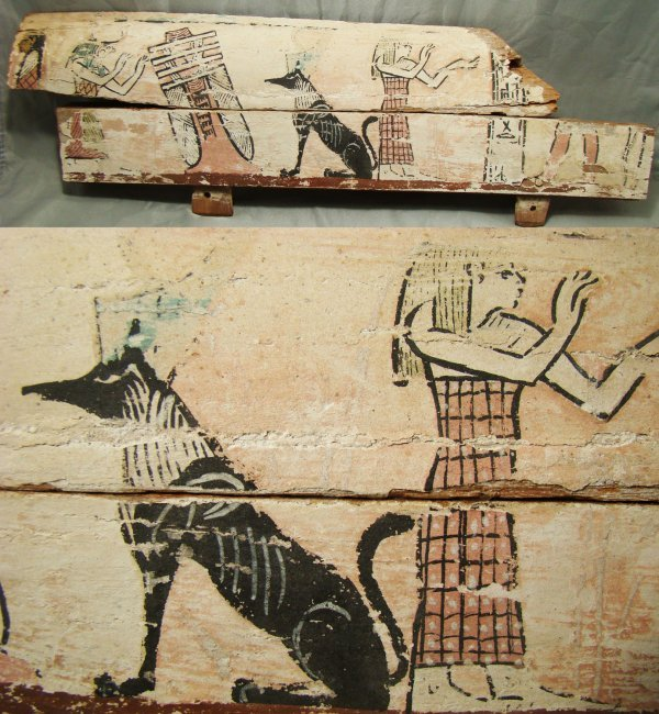 23: Egypt, Late Period, a fabulous painted coffin panel