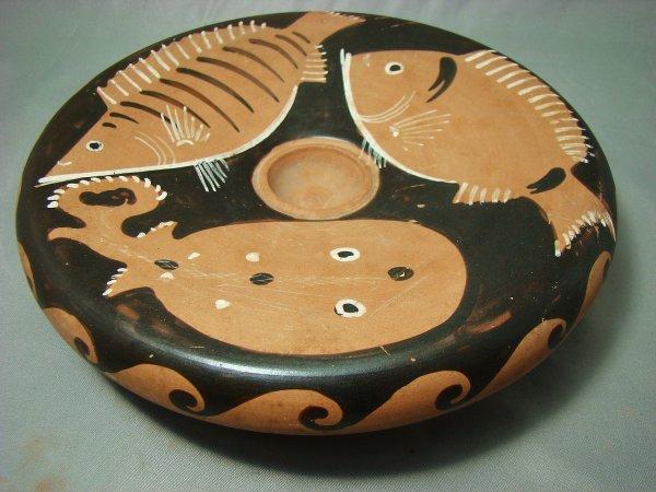 """100: Roman, Apulia, attractive red figure """"fish plate"""""""