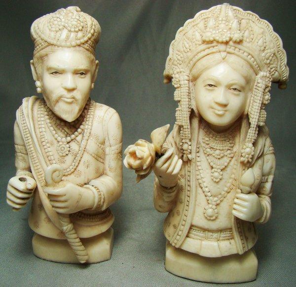 187: India Mogul Ivories, pair of marriage figures