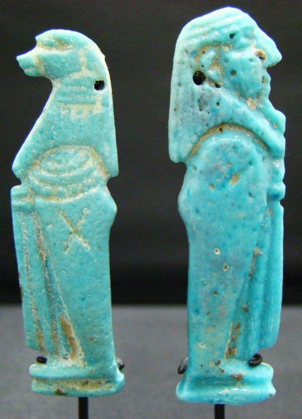 "11: Egypt, New Kingdom, 2 faience ""Sons of Horus"""