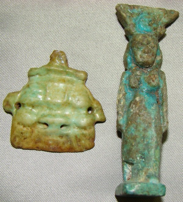 17: Egypt, Late Period, 2 small faience amulets