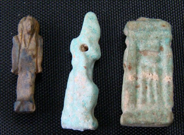 22: Egypt, Late Period, 3 tiny faience amulets