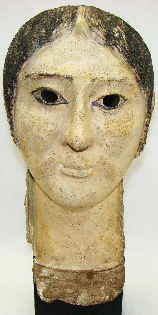 "23: Egypt, c. 100BC-100AD., a GREAT gesso ""mummy"" mask"