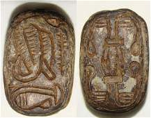 70: Egyptian, Late Dynasties, 2 faced HEART scarab