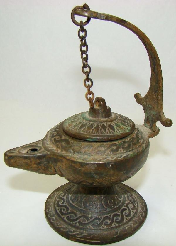 181: Islamic, small and fine bronze oil lamp
