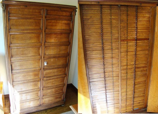 1652: A wonderful tall antique coin cabinet. Said to be