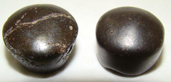11: Judaea, lot of 2 domed hematite 3/4 shekel weights