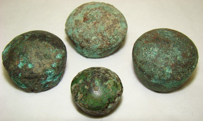 """12: Judaea, A lot of 4 domed bronze """"qedet"""" weights"""