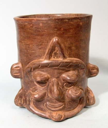 "21: Mexico, Maya, Black Cylinder ""face"" Vessel"