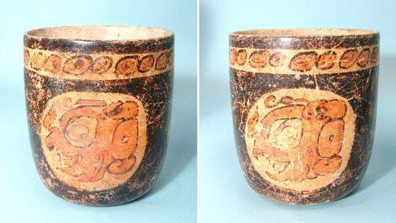 "22: Mexico, Maya, Scarce ""Deity"" Cylinder Vessel"