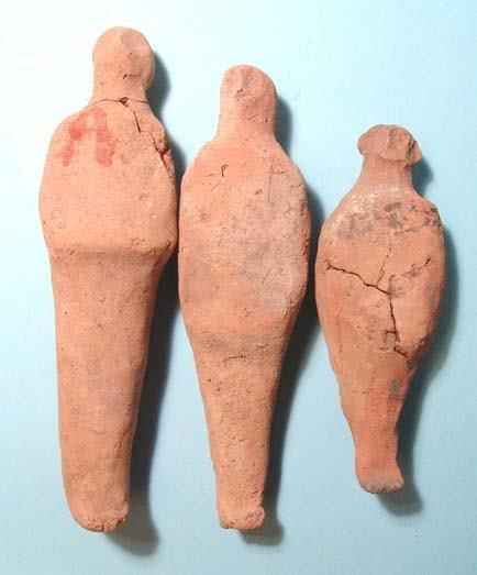 20: Lot of 3 Terracotta Ushabtis.