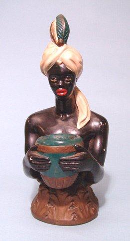 2019: Antique ceramic hand painted Nubian upper torso s