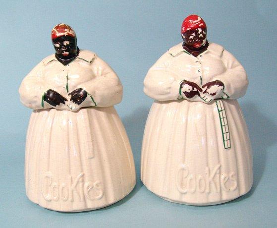 "2023: A pair of identical ""Aunt Jemima"" porcelain cooki"