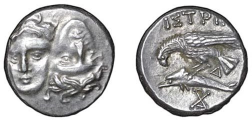 19: Istrus. 400 – 350 BC. AR Stater. 5.78g. Two male he