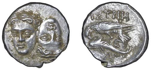 20: Istrus. 400 – 350 BC. AR Stater. 5.33g. Two male he