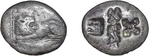 97: Miletos. Before 575 BC. Billon Stater. 12.36g. Lion