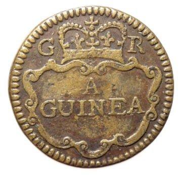 147: George II, 1727-1760, a round brass gold