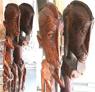 "577: Mali, Dogon, tall carved wood ""Primordia"
