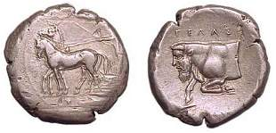 Gela, c.420 BC. AR Tetradrachm. 17.29g. Slow biga dr