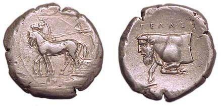 6: Gela, c.420 BC. AR Tetradrachm. 17.29g. Slow biga dr